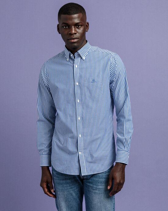 Regular Fit hemd van poplin met strepen