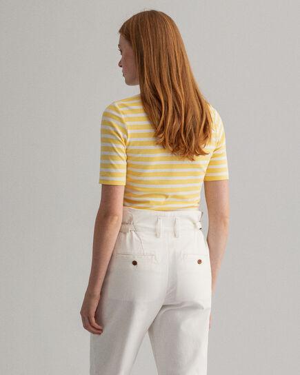 T-shirt côtelé à rayures et manches courtes rallongées