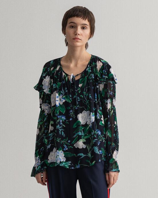 Rose-print blouse met ruche