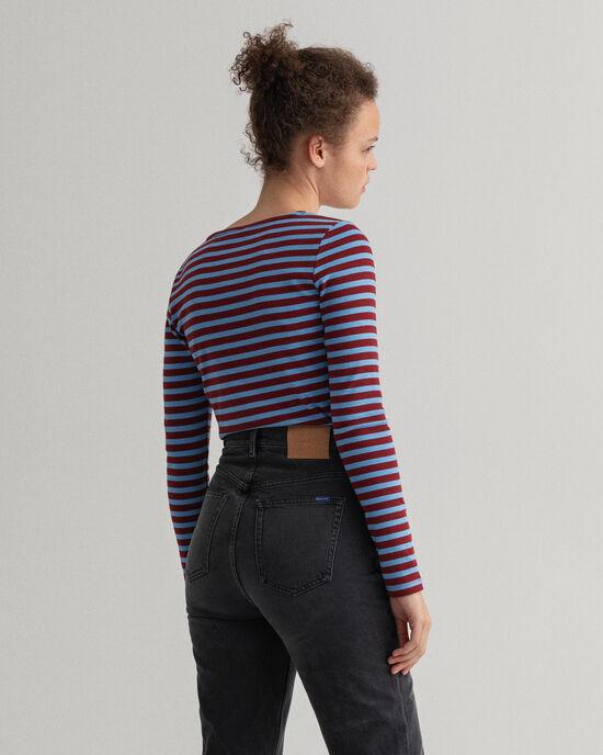 Gestreept geribd T-shirt met lange mouwen