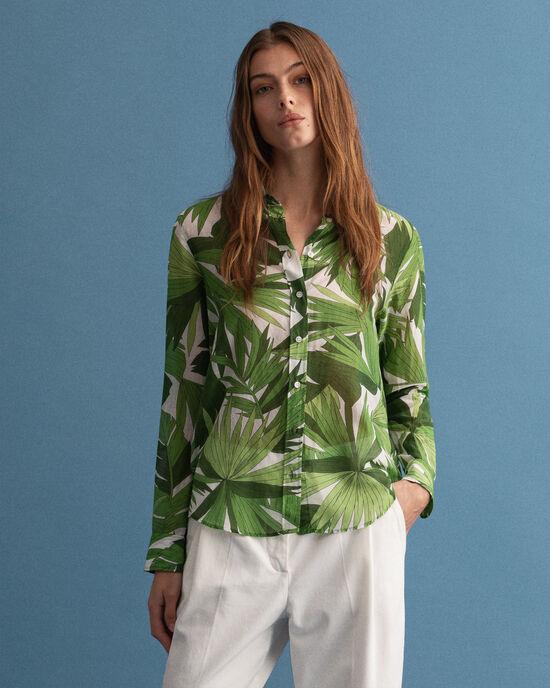 hemd van katoen en zijde met Palm Breeze-print